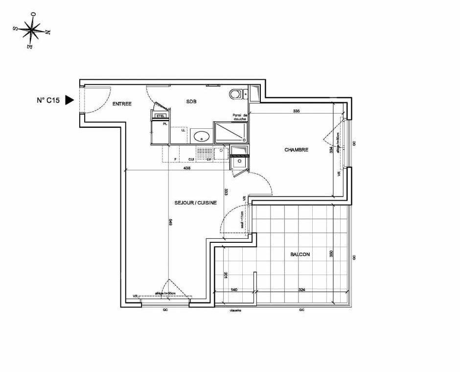 Plan C15, appartement neuf type T2 au 1er étage, faisant 43m² du programme neuf Les Levants à Brignais.