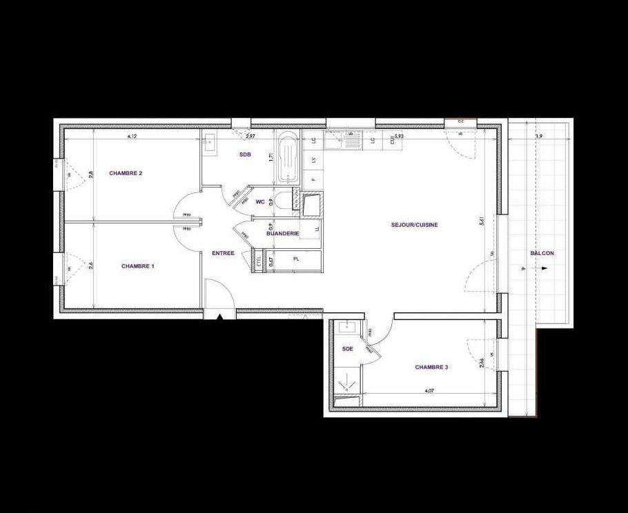 Plan C15, appartement neuf type T4 au 1er étage, orienté Sud faisant 83m² du programme neuf Les Terrasses d'Orgeoise à Coublevie.