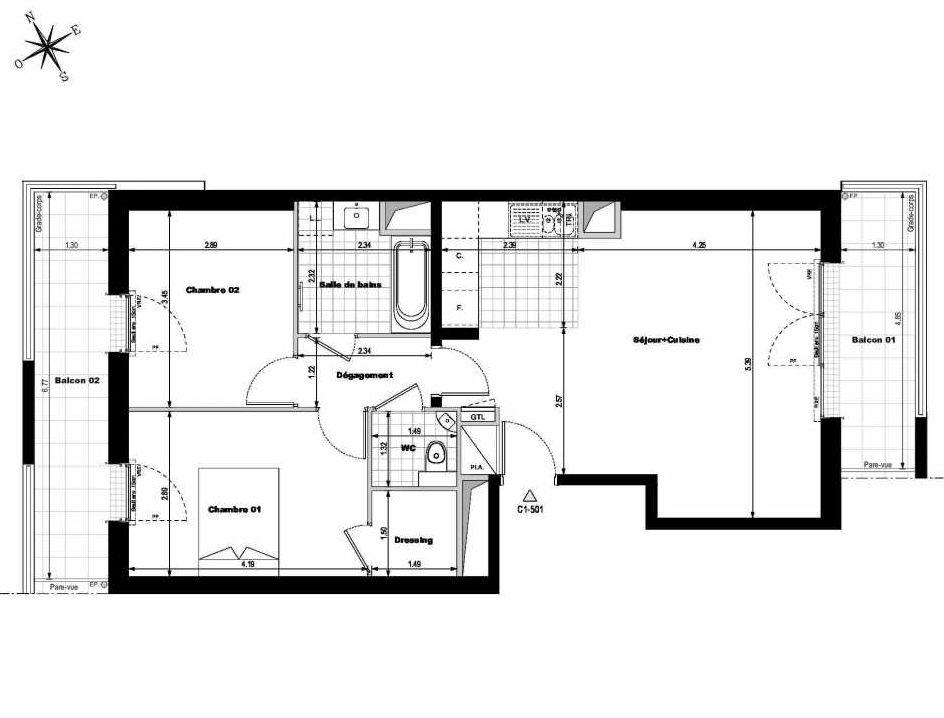 Plan C1501, appartement neuf type T3 au 5ème étage, orienté Est faisant 67m² du programme neuf ALLURE - Rueil-Malmaison à Rueil-Malmaison.