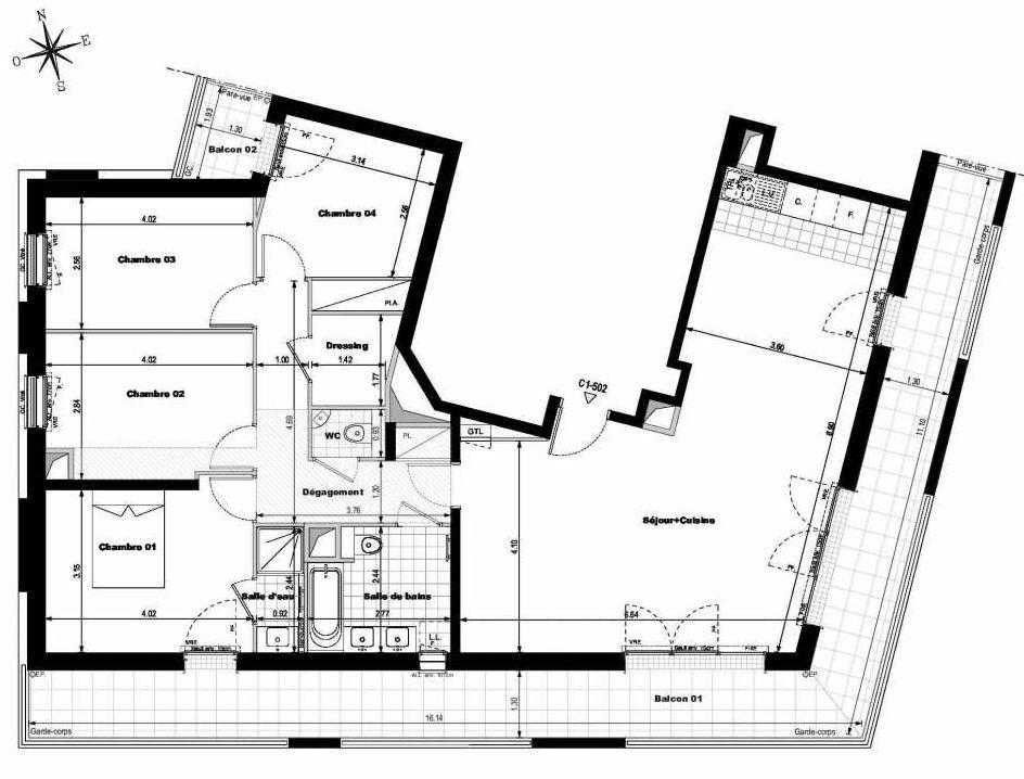 Plan C1502, appartement neuf type T5 au 5ème étage, orienté Est faisant 113m² du programme neuf ALLURE - Rueil-Malmaison à Rueil-Malmaison.