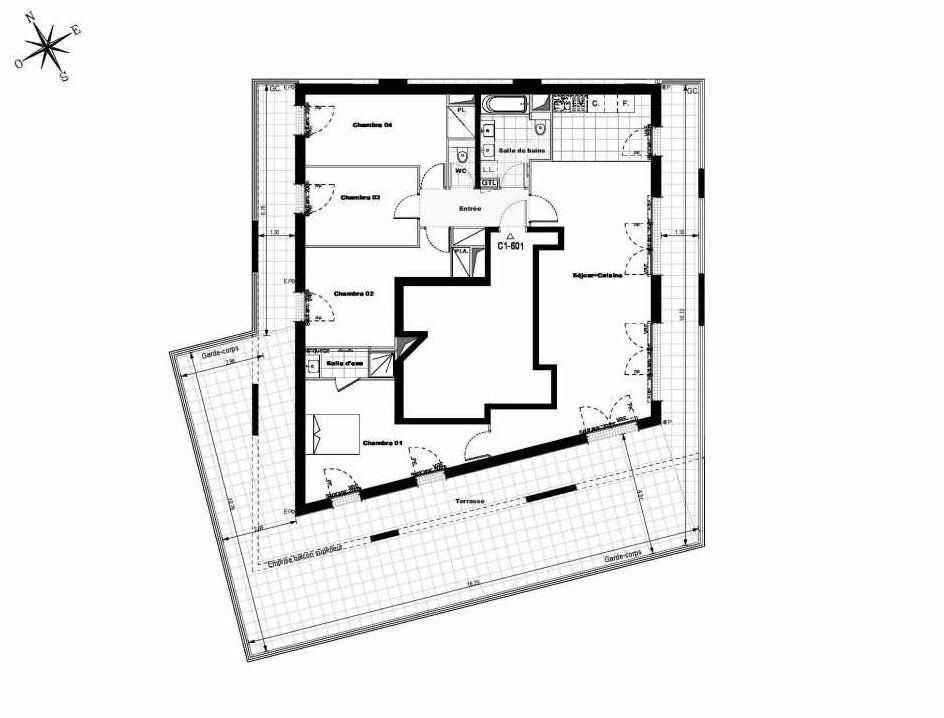 Plan C1601, appartement neuf type T5 au 6ème étage, orienté Est faisant 121m² du programme neuf ALLURE - Rueil-Malmaison à Rueil-Malmaison.