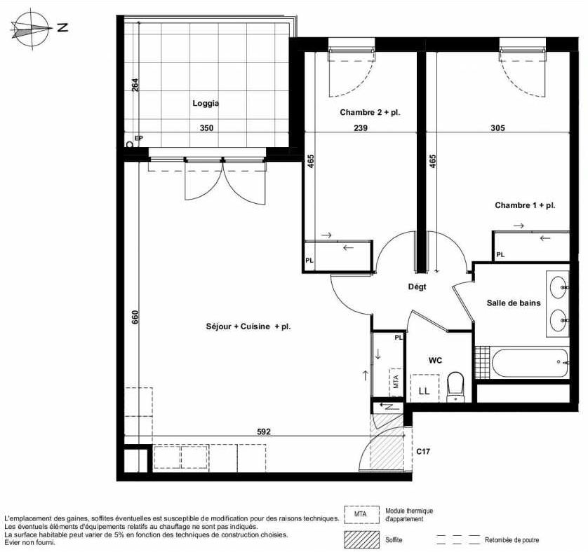 Plan C17, appartement neuf type T3 au 3ème étage, faisant 67m² du programme neuf Excellence Méjanes à Aix-en-Provence.