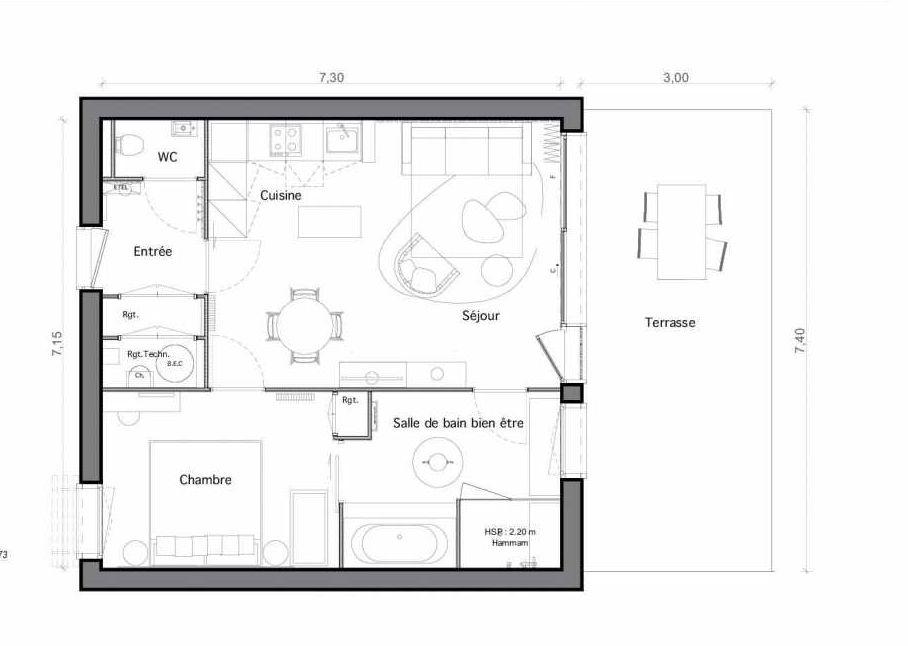 Plan C17, appartement neuf type T2 au Rez de chaussée, faisant 51m² du programme neuf Les Landes de Gascogne à Pindères.