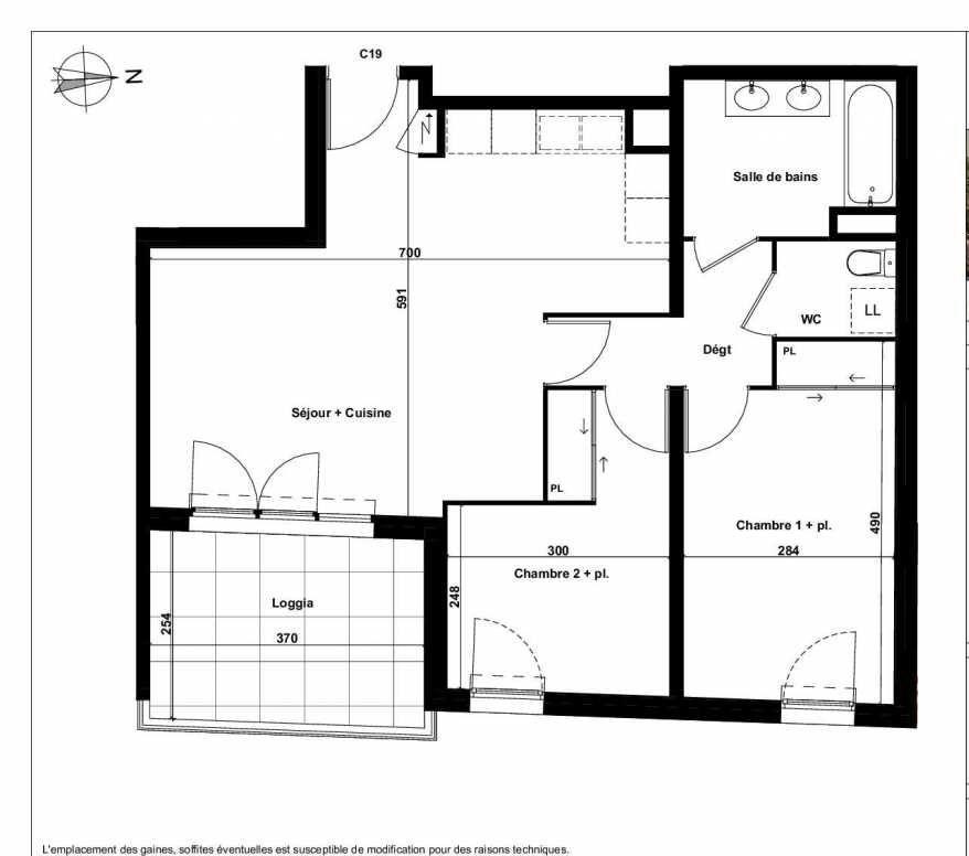 Plan C19, appartement neuf type T3 au 3ème étage, faisant 64m² du programme neuf Excellence Méjanes à Aix-en-Provence.