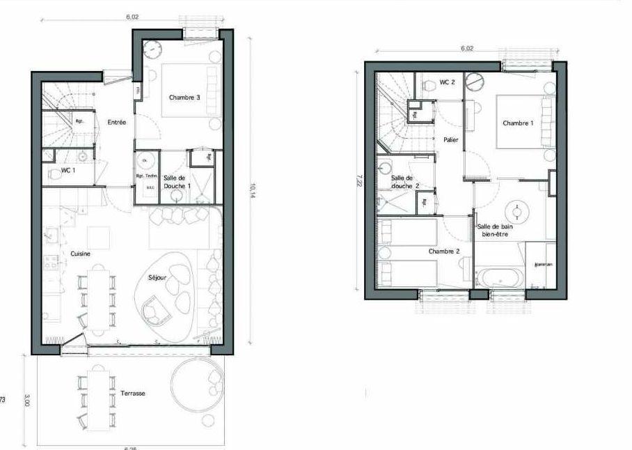 Plan C19, appartement neuf type T6 au Rez de chaussée, faisant 89m² du programme neuf Les Landes de Gascogne à Pindères.