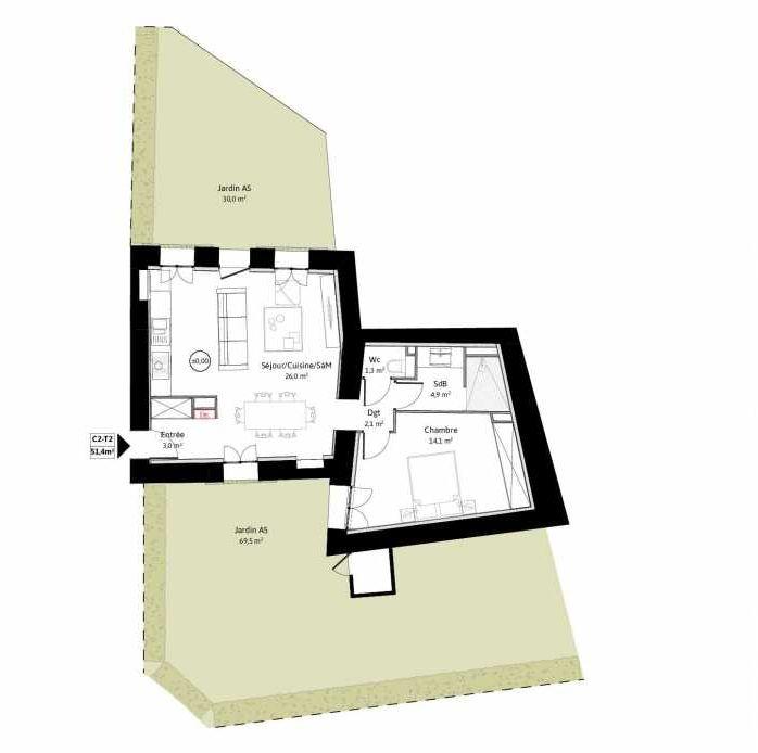 Plan C2, appartement neuf, faisant 51m² du programme neuf LE VIEUX TILLEUL à La Tour-de-Salvagny.