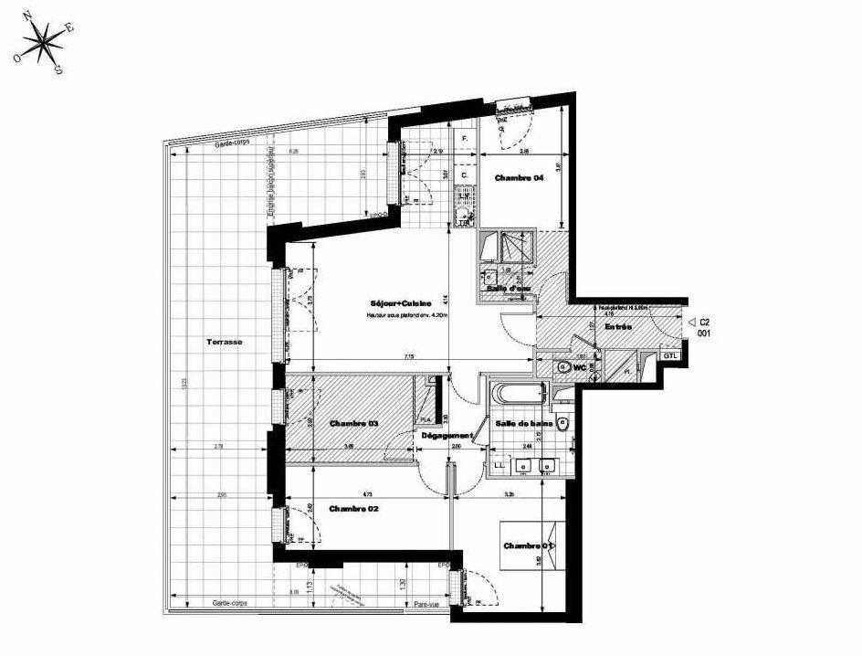 Plan C2001, appartement neuf type T5 au Rez de chaussée, orienté Ouest faisant 97m² du programme neuf ALLURE - Rueil-Malmaison à Rueil-Malmaison.