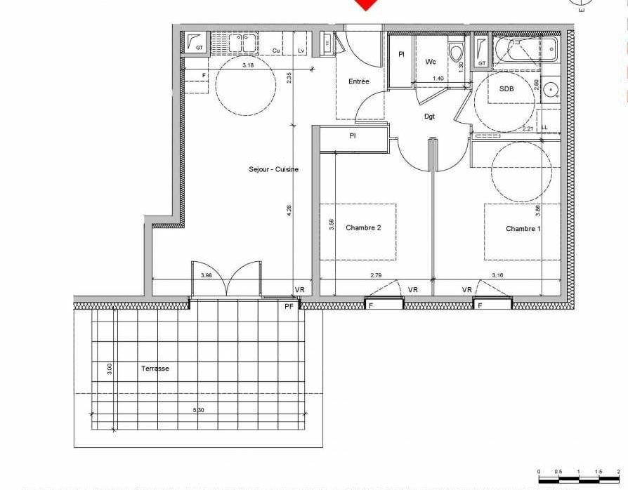 Plan C201, appartement neuf type T3 au Rez de chaussée, orienté Est faisant 60m² du programme neuf Les Ateliers à Grenoble.