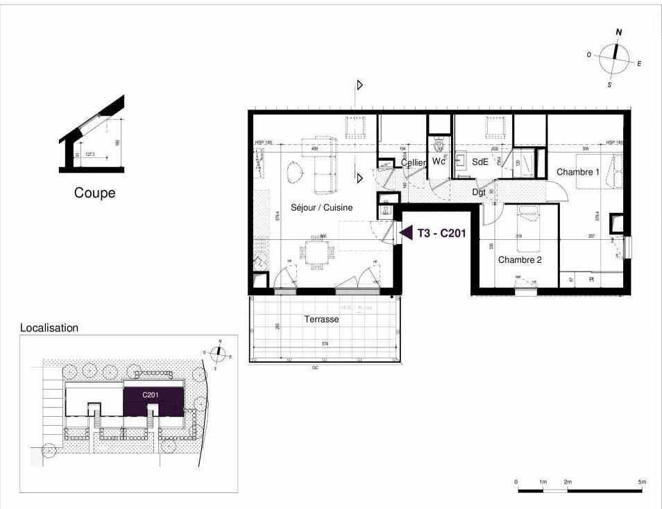 Plan C201, appartement neuf type T3 au 2ème étage, orienté Sud faisant 68m² du programme neuf LES RIVES DE LUCE à Sainte-Luce-sur-Loire.
