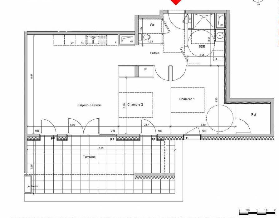 Plan C202, appartement neuf type T3 au Rez de chaussée, orienté Est faisant 69m² du programme neuf Les Ateliers à Grenoble.