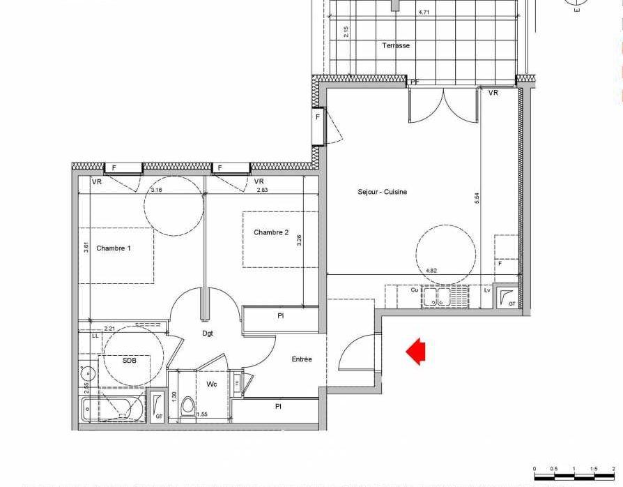Plan C203, appartement neuf type T3 au Rez de chaussée, orienté Ouest faisant 65m² du programme neuf Les Ateliers à Grenoble.