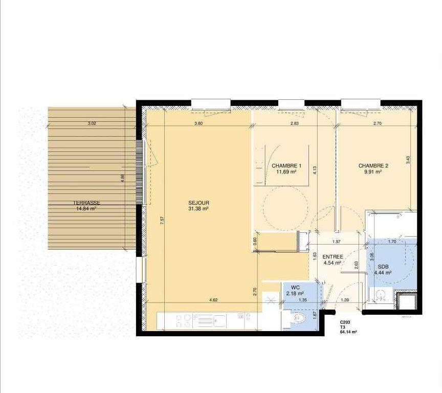 Plan C203, appartement neuf type T3 au Rez de chaussée, faisant 63m² du programme neuf Les Jardins Fleury à Fleury-sur-Orne.