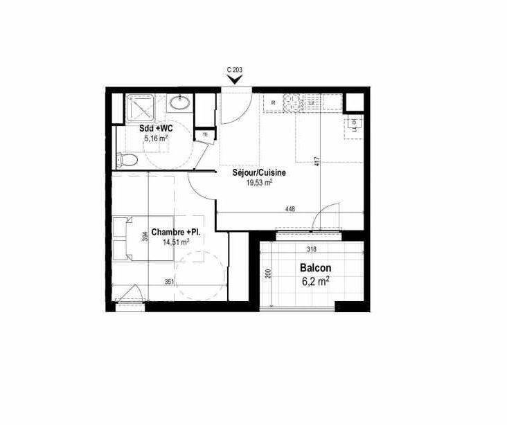 Plan C203, appartement neuf type T2 au 2ème étage, orienté Sud faisant 39m² du programme neuf SUNLODGE à Brignais.