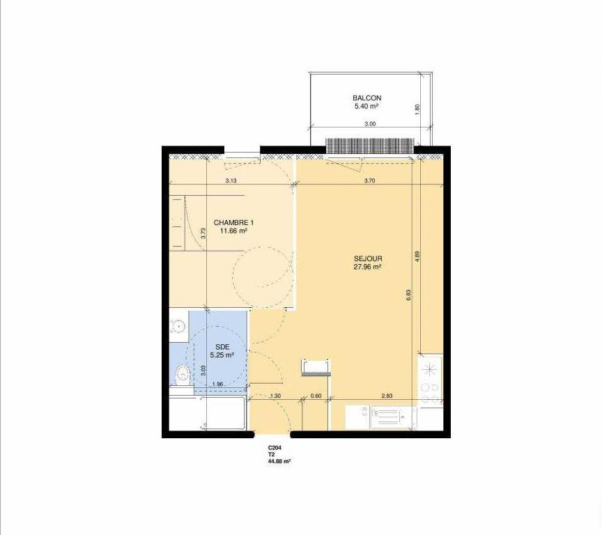 Plan C204, appartement neuf type T2 au Rez de chaussée, faisant 43m² du programme neuf Les Jardins Fleury à Fleury-sur-Orne.