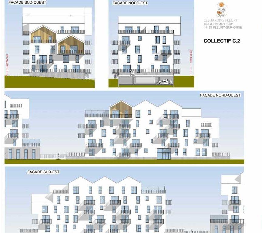 Plan C206, appartement neuf type T4 au Rez de chaussée, faisant 80m² du programme neuf Les Jardins Fleury à Fleury-sur-Orne.