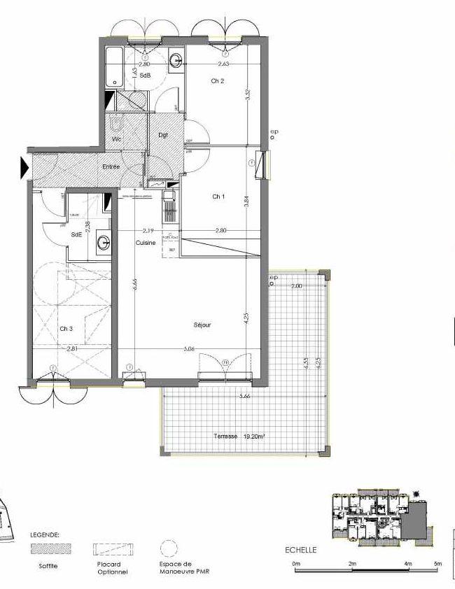 Plan C206, appartement neuf type T4 au 2ème étage, orienté Sud faisant 80m² du programme neuf Loderi à Bormes-les-Mimosas.