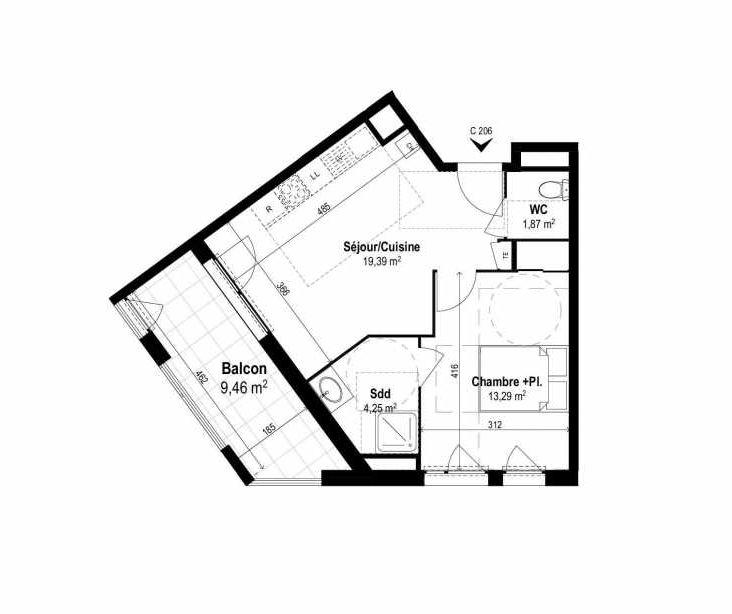 Plan C206, appartement neuf type T2 au 2ème étage, orienté Ouest faisant 39m² du programme neuf SUNLODGE à Brignais.