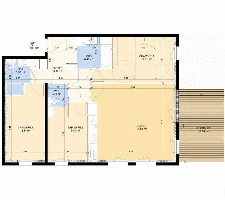 Plan C207, appartement neuf type T4 au Rez de chaussée, faisant 84m² du programme neuf Les Jardins Fleury à Fleury-sur-Orne.