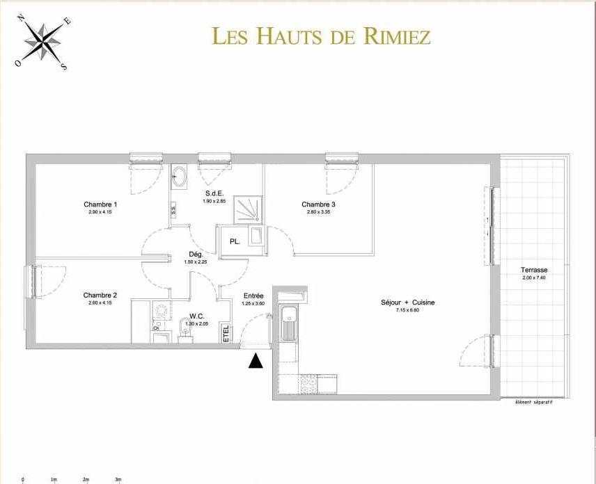 Plan C21, appartement neuf type T4 au 2ème étage, orienté Sud faisant 86m² du programme neuf Les Hauts de Rimiez à Nice.