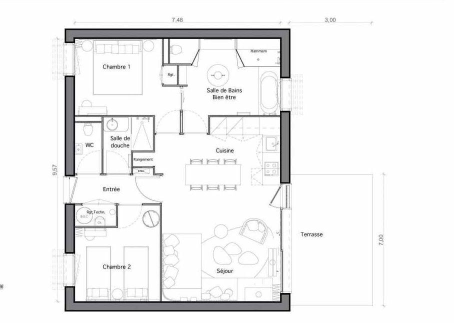 Plan C21, appartement neuf type T4 au Rez de chaussée, faisant 70m² du programme neuf Les Landes de Gascogne à Pindères.