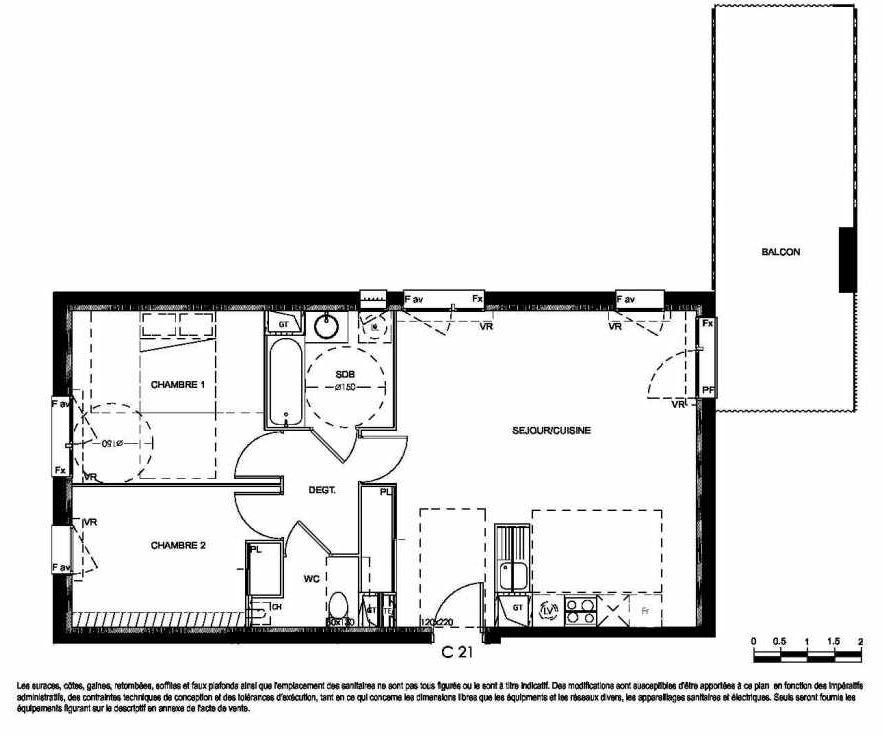 Plan C21, appartement neuf type T3 au 2ème étage, orienté Nord faisant 66m² du programme neuf Millésime à Colomiers.