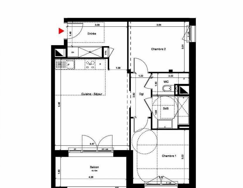 Plan C214, appartement neuf type T4 au 1er étage, orienté Sud faisant 116m² du programme neuf New Hastings à Caen.