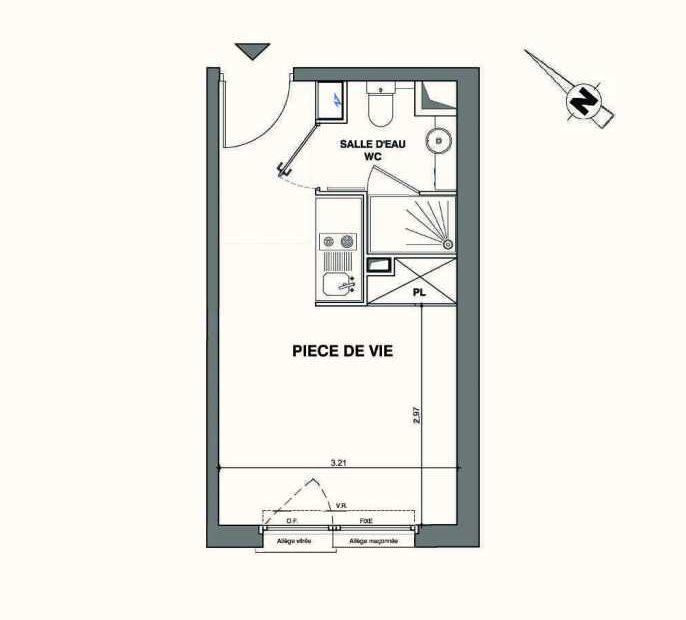 Plan C217, appartement neuf type T1 au 2ème étage, faisant 19m² du programme neuf Kaiman - Nimes à Nîmes.