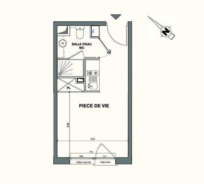 Plan C218, appartement neuf type T1 au 2ème étage, faisant 19m² du programme neuf Kaiman - Nimes à Nîmes.