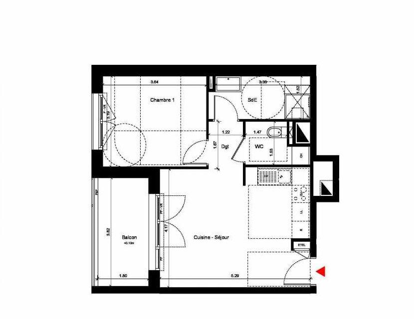 Plan C218, appartement neuf type T2 au 1er étage, orienté Ouest faisant 44m² du programme neuf New Hastings à Caen.