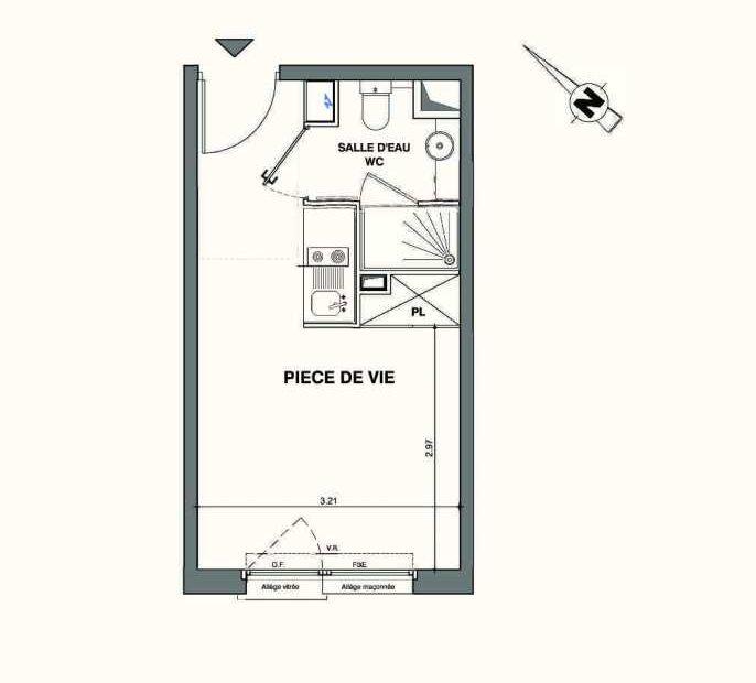Plan C219, appartement neuf type T1 au 2ème étage, faisant 19m² du programme neuf Kaiman - Nimes à Nîmes.