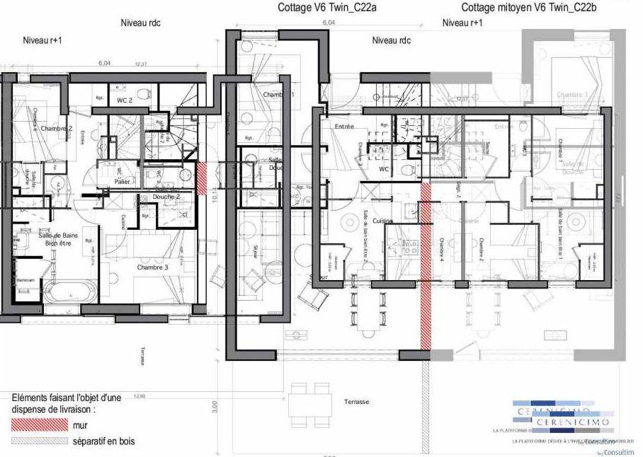 Plan C22-a, appartement neuf type T6 au Rez de chaussée, faisant 89m² du programme neuf Les Landes de Gascogne à Pindères.