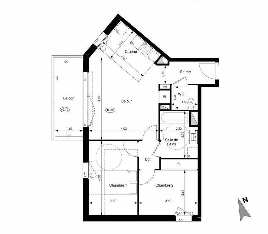 Plan C22, appartement neuf type T3 au 2ème étage, faisant 60m² du programme neuf Les Jardins d'Elise à Angers.