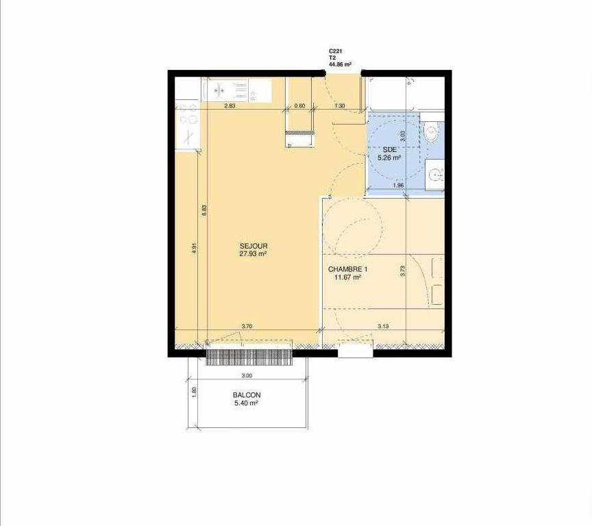Plan C221, appartement neuf type T2 au 2ème étage, faisant 43m² du programme neuf Les Jardins Fleury à Fleury-sur-Orne.