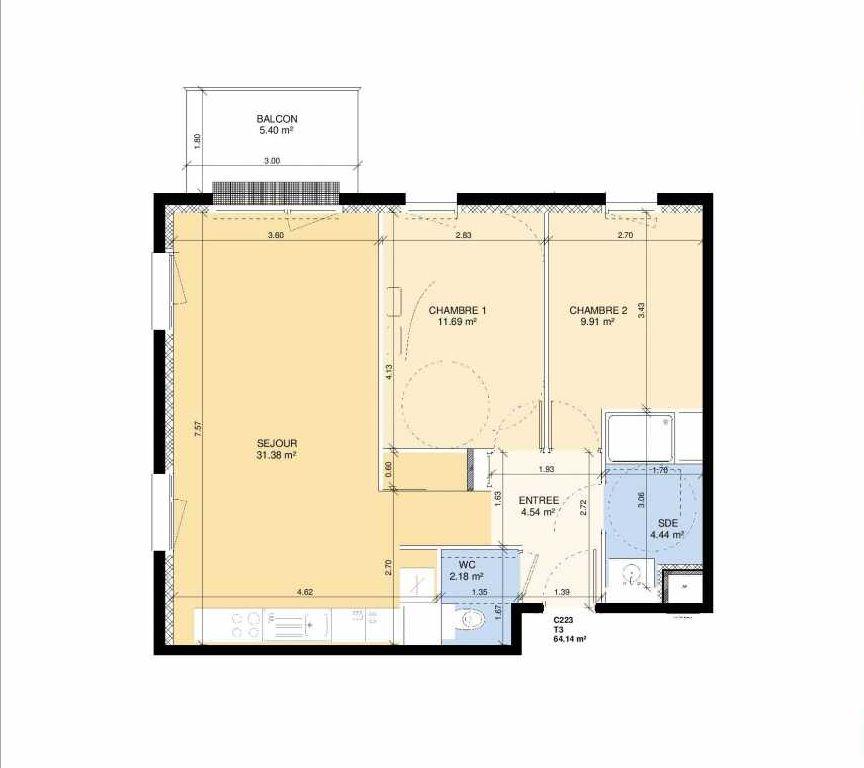 Plan C223, appartement neuf type T3 au 2ème étage, faisant 63m² du programme neuf Les Jardins Fleury à Fleury-sur-Orne.