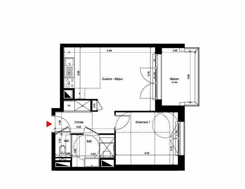Plan C223, appartement neuf type T2 au 2ème étage, orienté Nord faisant 42m² du programme neuf New Hastings à Caen.