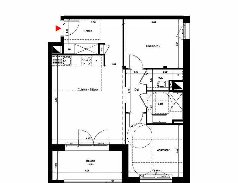 Plan C224, appartement neuf type T4 au 2ème étage, orienté Sud faisant 116m² du programme neuf New Hastings à Caen.