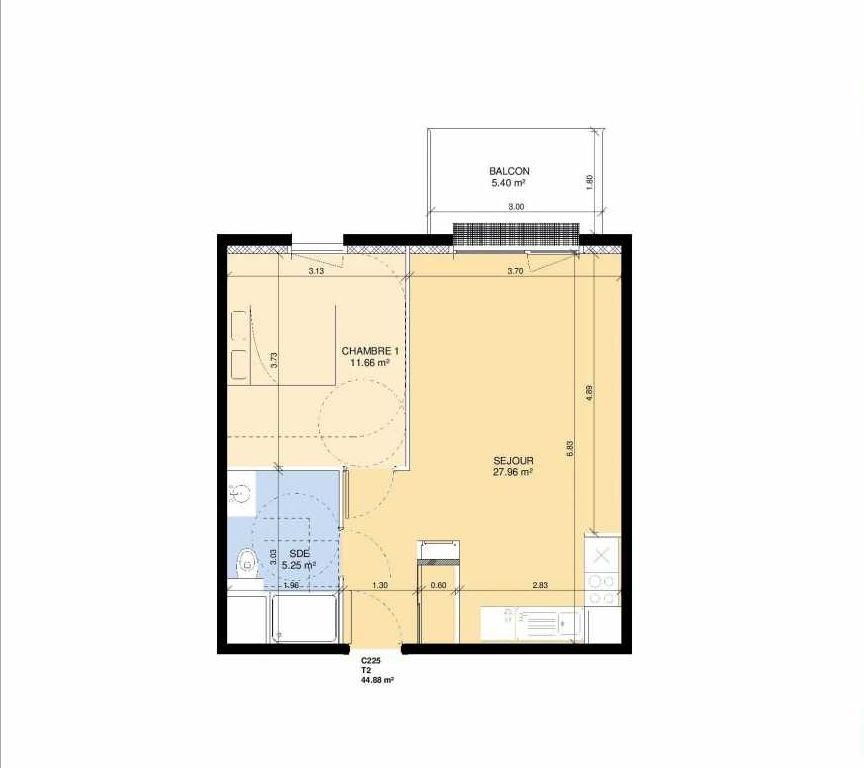 Plan C225, appartement neuf type T2 au 2ème étage, faisant 43m² du programme neuf Les Jardins Fleury à Fleury-sur-Orne.