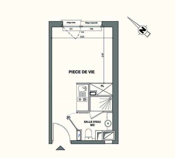 Plan C228, appartement neuf type T1 au 2ème étage, faisant 19m² du programme neuf Kaiman - Nimes à Nîmes.
