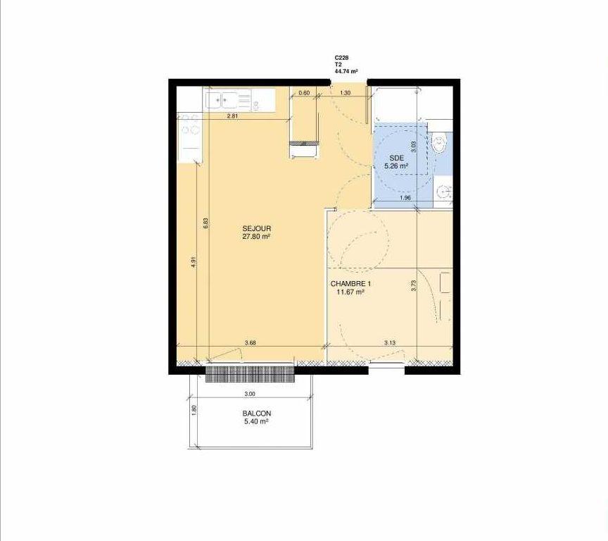 Plan C228, appartement neuf type T2 au 2ème étage, faisant 43m² du programme neuf Les Jardins Fleury à Fleury-sur-Orne.