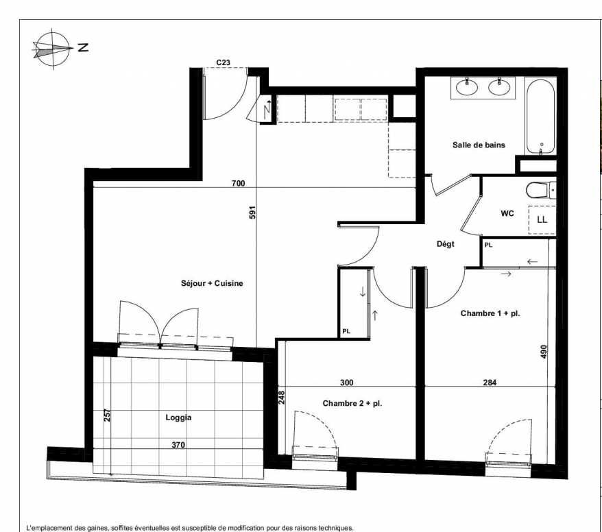 Plan C23, appartement neuf type T3 au 4ème étage, faisant 64m² du programme neuf Excellence Méjanes à Aix-en-Provence.