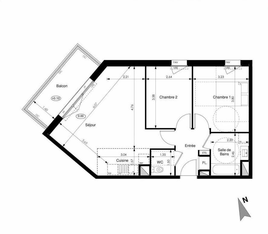 Plan C23, appartement neuf type T3 au 2ème étage, faisant 60m² du programme neuf Les Jardins d'Elise à Angers.