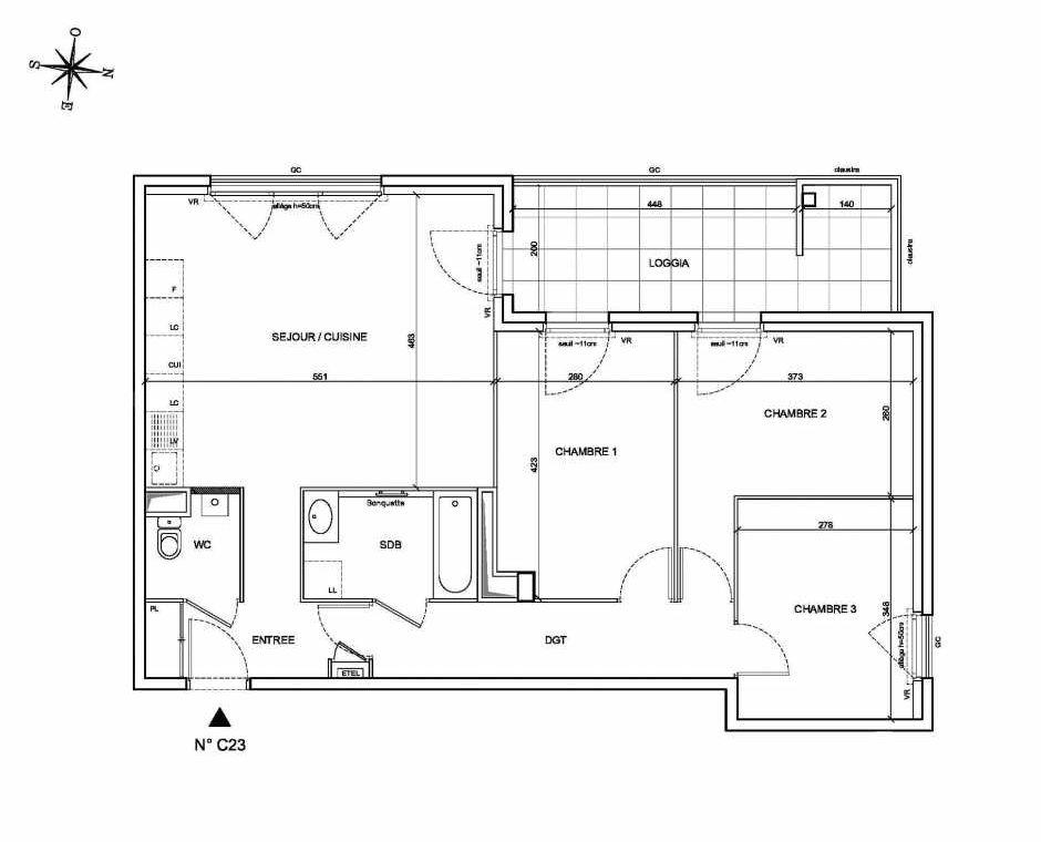 Plan C23, appartement neuf type T4 au 2ème étage, faisant 77m² du programme neuf Les Levants à Brignais.