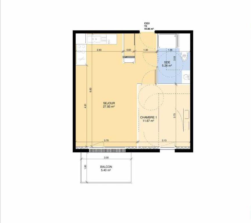 Plan C231, appartement neuf type T2 au 3ème étage, faisant 43m² du programme neuf Les Jardins Fleury à Fleury-sur-Orne.