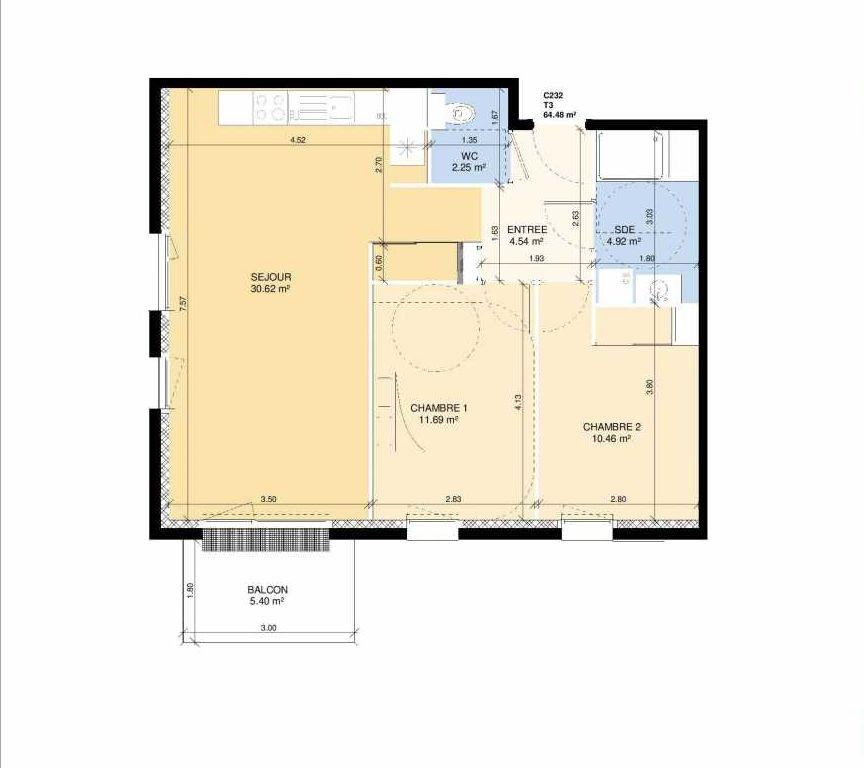Plan C232, appartement neuf type T3 au 3ème étage, faisant 63m² du programme neuf Les Jardins Fleury à Fleury-sur-Orne.