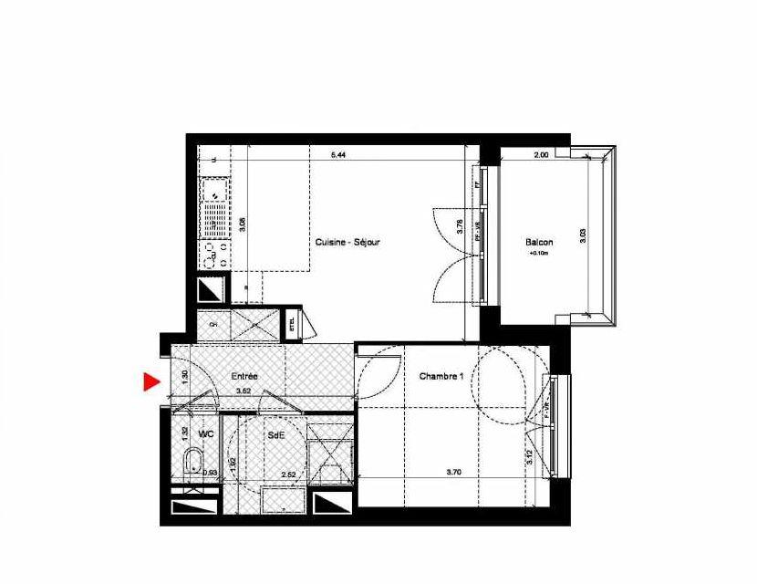 Plan C233, appartement neuf type T2 au 3ème étage, orienté Nord faisant 42m² du programme neuf New Hastings à Caen.
