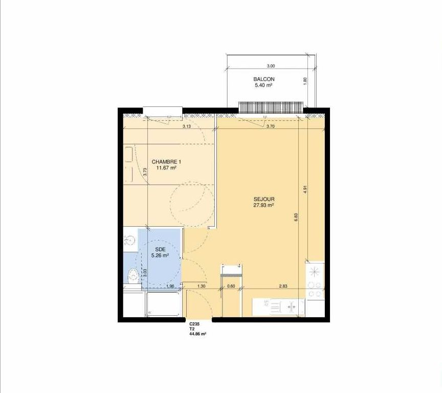 Plan C235, appartement neuf type T2 au 3ème étage, faisant 43m² du programme neuf Les Jardins Fleury à Fleury-sur-Orne.
