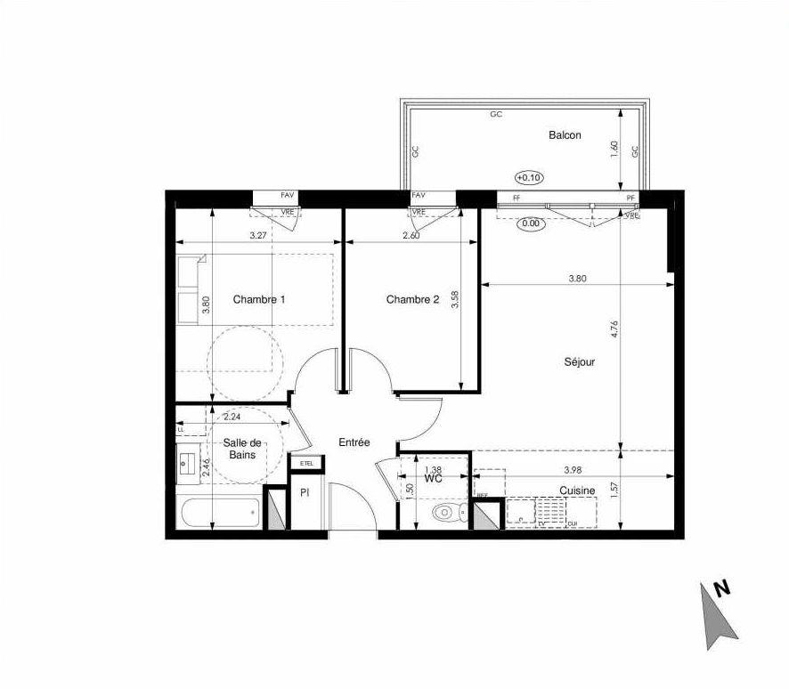 Plan C24, appartement neuf type T3 au 2ème étage, faisant 59m² du programme neuf Les Jardins d'Elise à Angers.