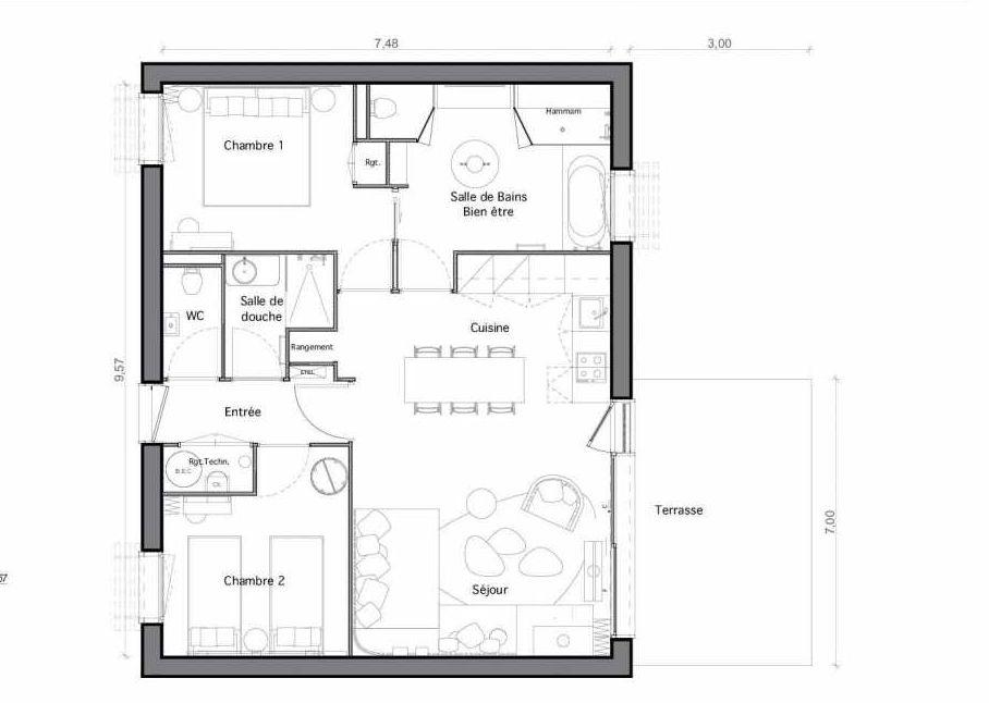 Plan C24, appartement neuf type T4 au Rez de chaussée, faisant 70m² du programme neuf Les Landes de Gascogne à Pindères.
