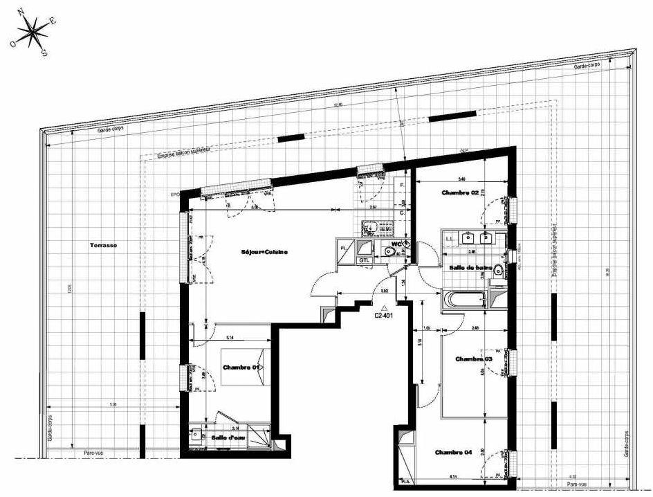 Plan C2401, appartement neuf type T5 au 4ème étage, orienté Est faisant 98m² du programme neuf ALLURE - Rueil-Malmaison à Rueil-Malmaison.