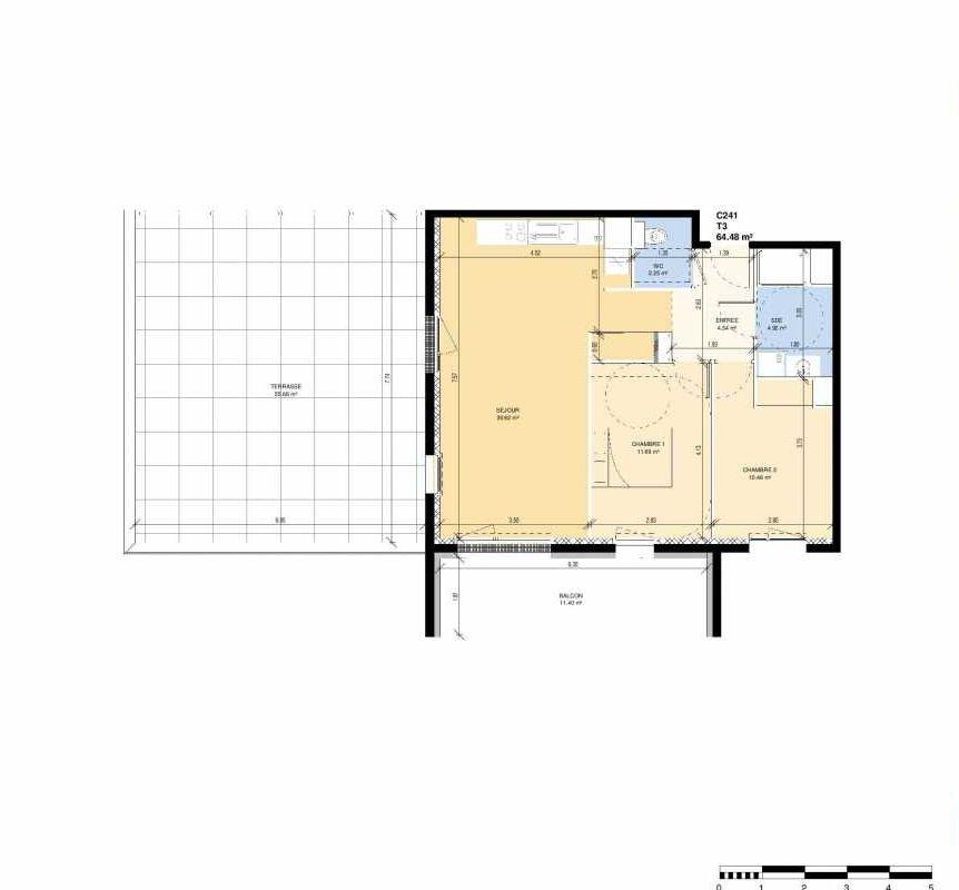 Plan C241, appartement neuf type T3 au Rez de chaussée, faisant 64m² du programme neuf Les Jardins Fleury à Fleury-sur-Orne.